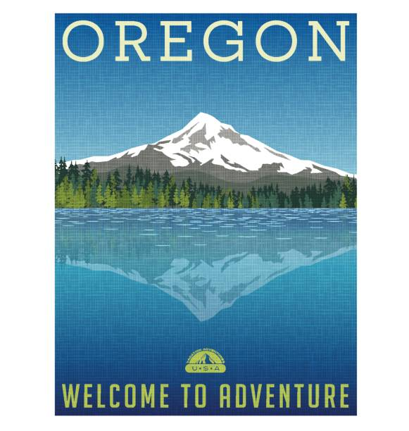 oregon, united states travel poster or luggage sticker. scenic illustration of mt. hood behind lake with reflection. - nature travel stock illustrations, clip art, cartoons, & icons