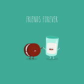 Oreo and milk are friends forever. Vector graphics