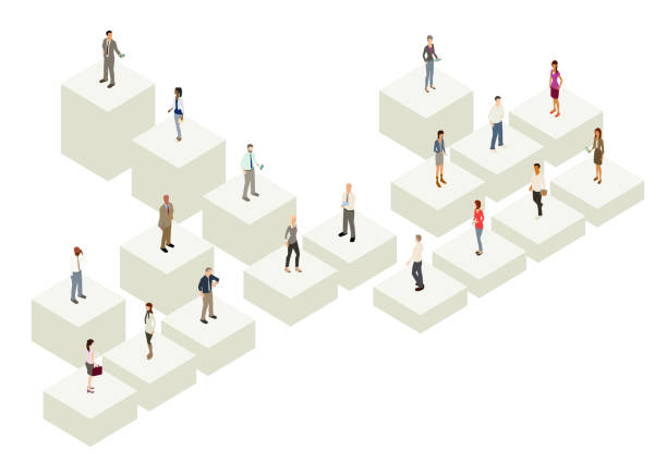 Org chart with people Org chart illustration with people standing on three-dimensional cubes, with five levels, and 18 employees in the diagram organization chart stock illustrations