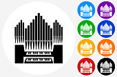 Organ Icon on Flat Color Circle Buttons. This 100% royalty free vector illustration features the main icon pictured in black inside a white circle. The alternative color options in blue, green, yellow, red, purple, indigo, orange and black are on the right of the icon and are arranged in two vertical columns.
