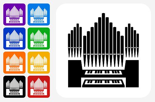 Organ Icon Square Button Set