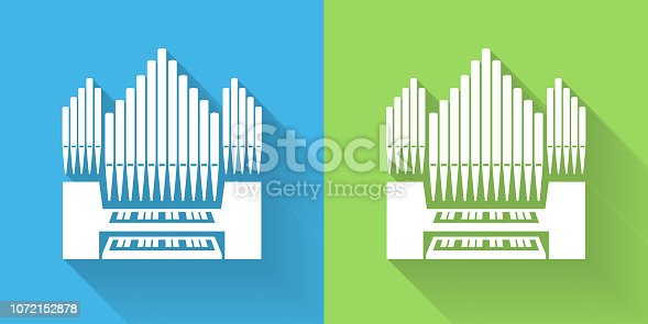 Organ Icon with Long Shadow. The icon is on Blue Green Background with Long Shadow. There are two background color variations included in this file. The icon is rendered in white color and the background is blue or green. There is also a 45 degree long shadow.