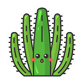 Organ pipe cactus cute kawaii vector character. Cactus with hushed face. Embarrassed wild Pitahaya cacti. Flushed surprised tropical plant. Funny emoji, emoticon. Isolated cartoon color illustration
