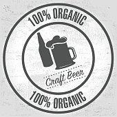Organic 100% Craft beer rubber stamp icon