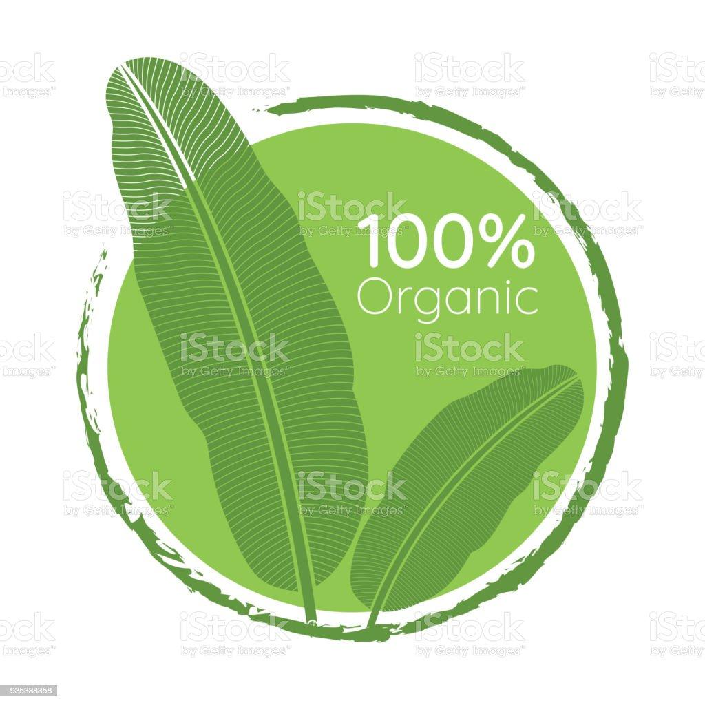 Organic 100% natural green leaf icon vector art illustration