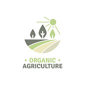 organic agriculture logo template for your farm and agriculture business. Editable vector file.