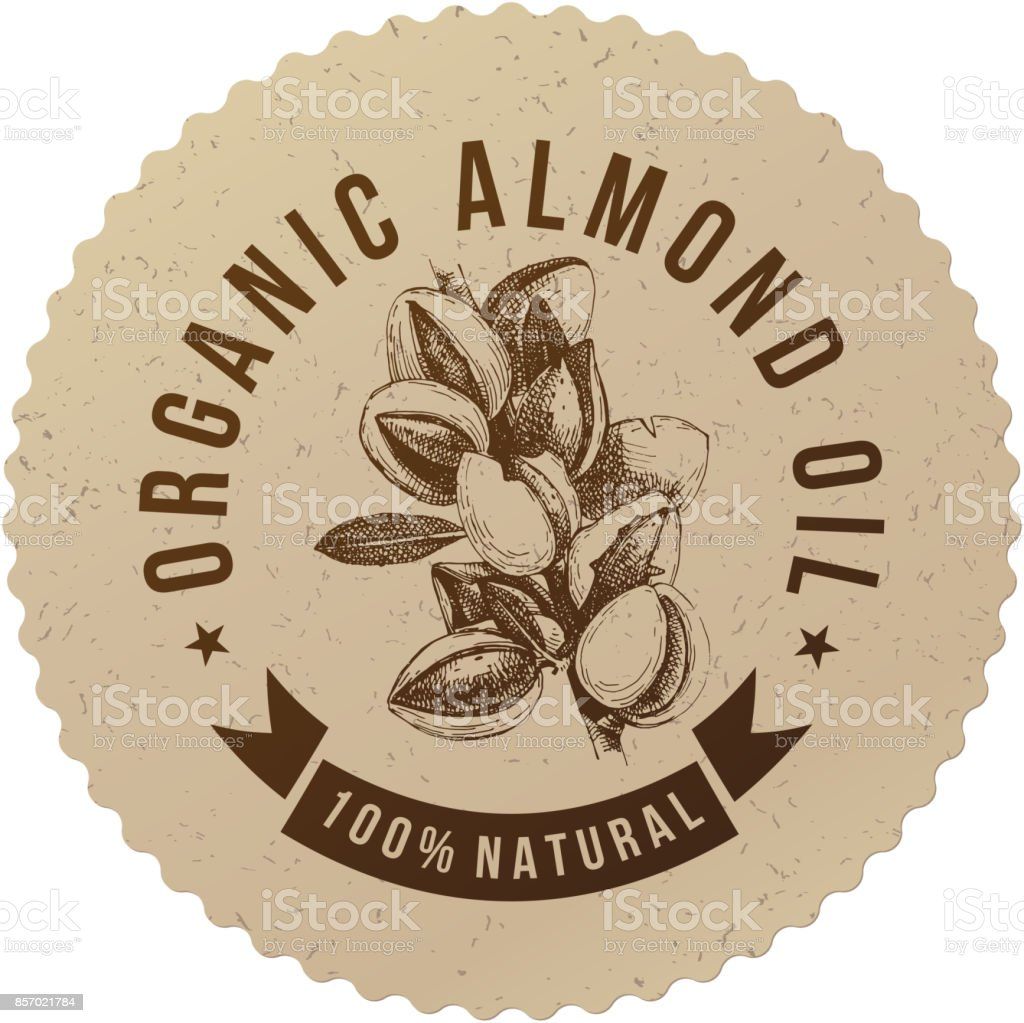 Organic almond oil emblem vector art illustration