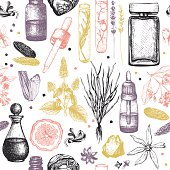 Organic and floral perfume ingredients background.