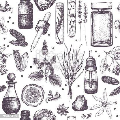 Seamless pattern with hand drawn perfumery and cosmetics materials sketch. Vintage illustration
