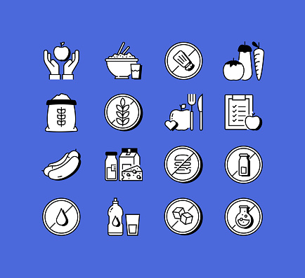 Organic and Healthy Food Related Icons Vector Collection. Modern Style Symbol Vector Illustration