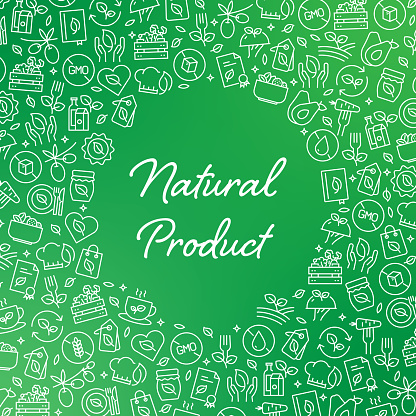 NATURAL PRODUCT - Organic and Healthy Products Vector Pattern and Abstract Background.