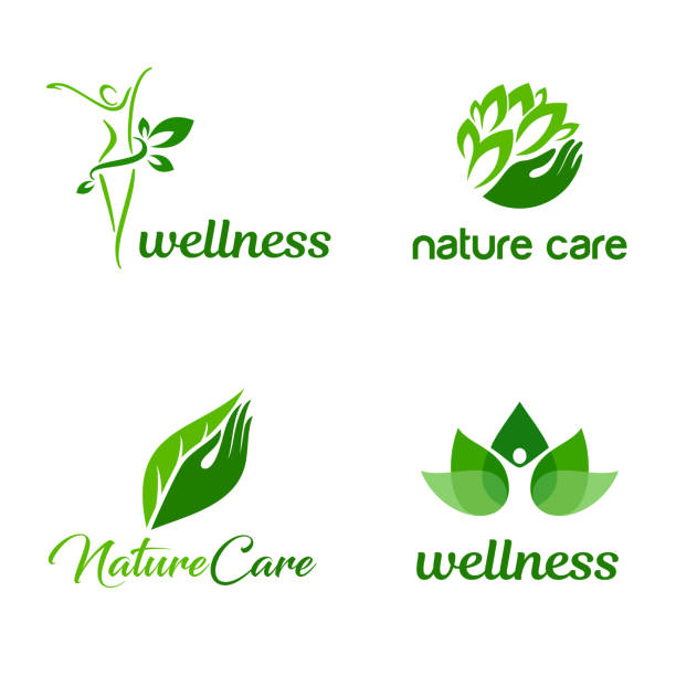 organic and nature care vector emblem design set. wellness and spa icons - massage stock illustrations