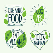 organic and vegan food labels in doodle style