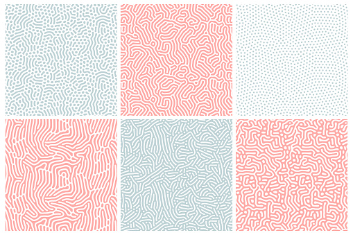 Organic background in bleached red and blue. Organic texture with rounded lines, drips. Structure of natural cells, maze, coral. Diffusion reaction seamless patterns. Abstract vector illustration.