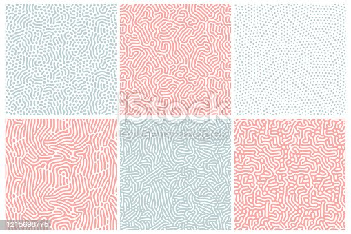 Organic background in bleached red and blue. Organic texture with rounded lines, drips. Structure of natural cells, maze, coral. Diffusion reaction seamless patterns. Abstract vector illustration