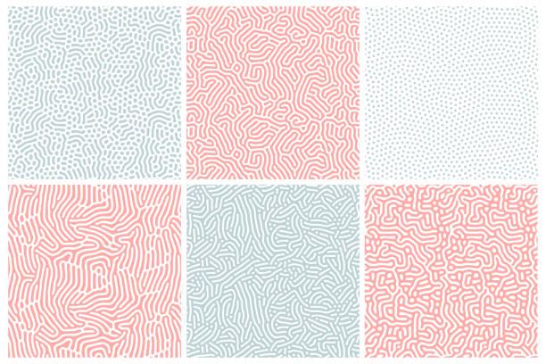 stockillustraties, clipart, cartoons en iconen met organische achtergrond in gebleekt rood en blauw. organische textuur met afgeronde lijnen, druppels. structuur van natuurlijke cellen, doolhof, koraal. diffusie reactie naadloze patronen. abstracte vectorillustratie. - pattern