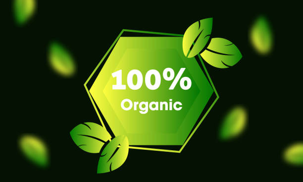 100% organic badge with green leaves - composting stock illustrations