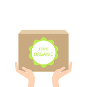 Organic box in hand,vector ecology concept vector. Flat eps10 illustration