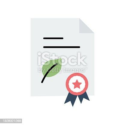 istock Organic Certified Flat Icon. Flat Design Vector Illustration 1328321265