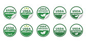 USDA organic certified icons. Set of realistic stickers with rolled up corners. Round organic certification labels with curled edges. Vector illustration.