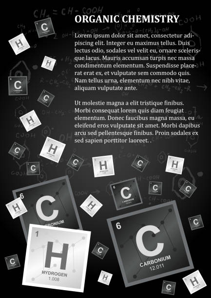 Organic chemistry design with a paragraph of text and carbon, hydrogen and chemical reactions and formulas Organic or inorganic chemistry design or flyer in dark colors with a paragraph of text and carbon, hydrogen and chemical reactions and formulas on a black background formic acid stock illustrations