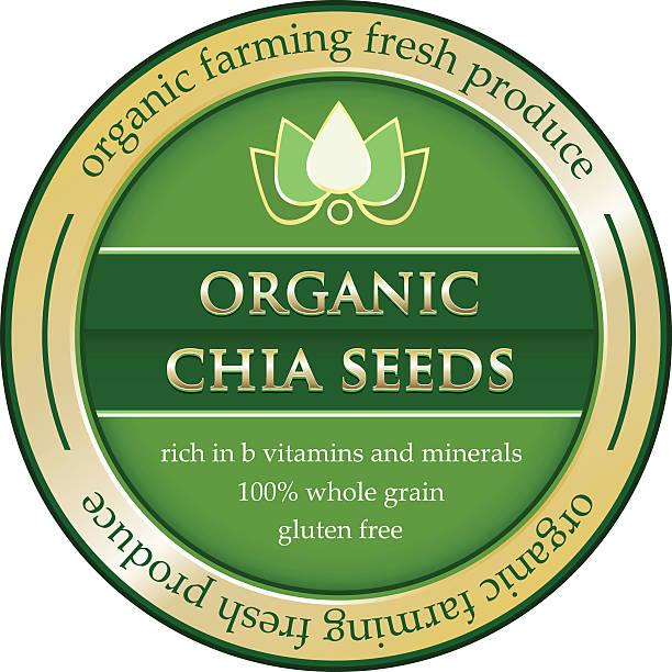 Organic Chia Seeds Gold Label ベクターアートイラスト
