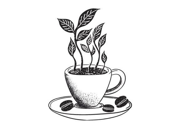 Organic Coffee Stippling picking harvesting stock illustrations