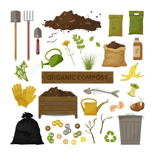 유기 퇴비 테마 - 비료 stock illustrations