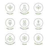 Organic cosmetic badges collection. Product free allergen line icons set. Organic stickers. Natural products labels. GMO free emblems. Healthy eating. Vegan, bio food. Vector illustration.