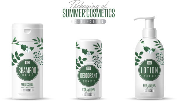 organic cosmetic brand template packaging set - shampoos stock-grafiken, -clipart, -cartoons und -symbole