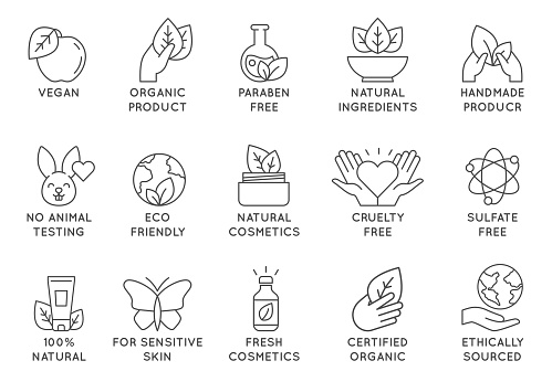Organic cosmetics icon. Eco friendly cruelty free line badges for beauty products and vegan food. No animal tested, natural icons vector set