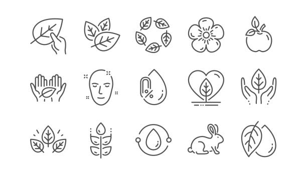 Organic cosmetics line icons. No alcohol, synthetic fragrance, fair trade. Linear set. Vector Organic cosmetics line icons. No alcohol free, synthetic fragrance, fair trade. Sustainable textiles, animal testing, eco organic icons. Linear set. Vector animal testing stock illustrations