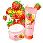 Organic cosmetics product with strawberries vector