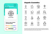 Organic cosmetics set. Mobile app interface. Thin line icons for product packaging. Cruelty free, 0% alcohol, natural ingredients, paraben free, eco friendly, no mineral oil, non GMO. Modern vector illustration.