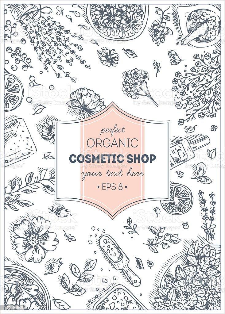 organic cosmetics top view frame natural cosmetics