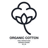 Organic cotton flower outline icon vector illustration. Pixel perfect and editable stroke. 48x48.