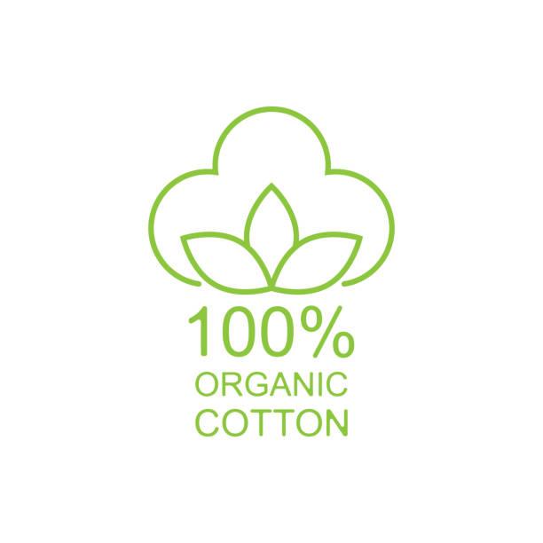 100% organic cotton icon line style 100% organic cotton icon line style. Vector cotton stock illustrations