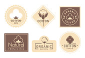 Organic cotton label vector illustration set. Mark logo icons collection with cottonseed branch plant symbol emblem, natural bio organic product, fabric quality fiber for knitting and textile industry