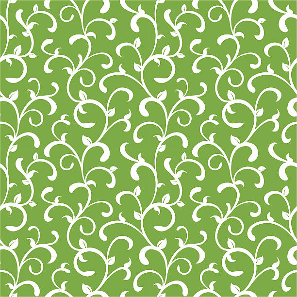 organic curly seamless vine pattern - vine stock illustrations, clip art, cartoons, & icons