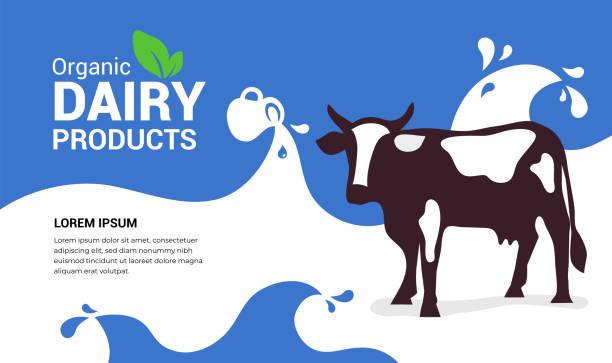 Organic dairy products illustration with cow – artystyczna grafika wektorowa