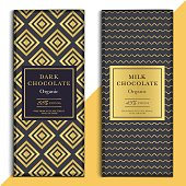 Organic dark and milk chocolate bar design. Choco packaging