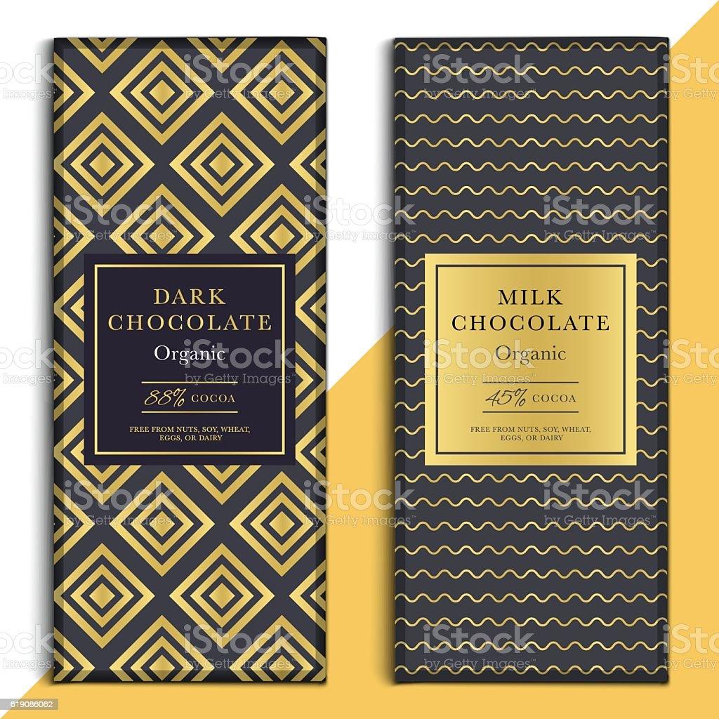 Organic dark and milk chocolate bar design. Choco packaging vector art illustration