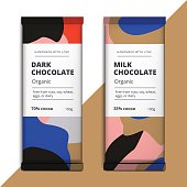 Organic dark and milk chocolate bar design. Luxury abstract choc