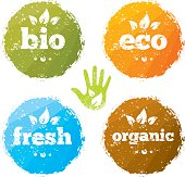 Organic Eco Food Creative Rough Design Concept. Eat Local Fresh Products Illustration On Grunge Background