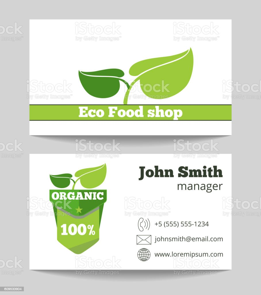 Organic eco food shop business card stock vector art 609533904 banner sign farm food vegetable advertisement organic eco food shop business card magicingreecefo Choice Image