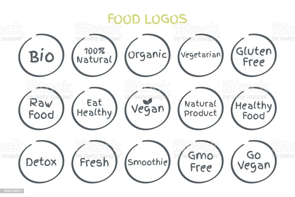 100% Organic, Eco, Gluten Free, Raw Food, Vegetarian, Vegan, Natural Product, GMO Free, Healthy Food, Bio, Fresh, Smoothie icons for food. Vector illustration symbols vector art illustration