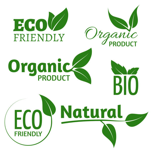 organic eco vector logos with green leaves. bio friendly products labels with leaf - organic stock illustrations, clip art, cartoons, & icons