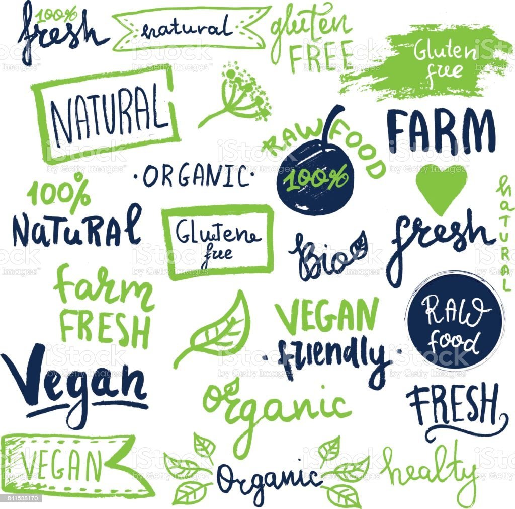 Organic ecology icons, labels and tags. Hand drawn grunge icon with raw, vegan lettering and signs royalty-free organic ecology icons labels and tags hand drawn grunge icon with raw vegan lettering and signs stock illustration - download image now