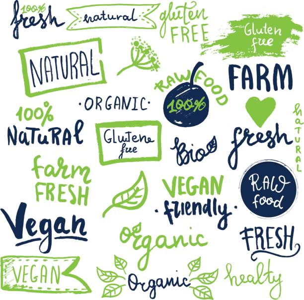 organic ecology icons, labels and tags. hand drawn grunge icon with raw, vegan lettering and signs - organic stock illustrations, clip art, cartoons, & icons