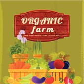"Organic vegetable with ""Organic Farm"" banner on olive background. Vector. EPS 8."